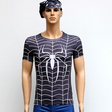 Black Spiderman T Shirts Short Sleeve High Elastic Fast Dry Tops Super Hero Shirts Water Proof Sport Riding Outdoor Tops