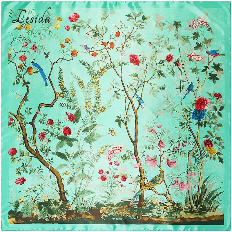 Mujeres Joker bufanda cuadrada de seda pura marca de lujo Desigual Foulard Femme Bandanas patrón de flor grande bufanda de las mujeres 90 * 90 9218 M