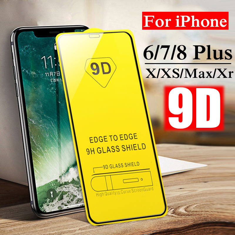 Protective Glass-On Xr iPhone 7plus 8 for Xs-Max 7/8-plus/Aifion/.. Full-Cover 9D
