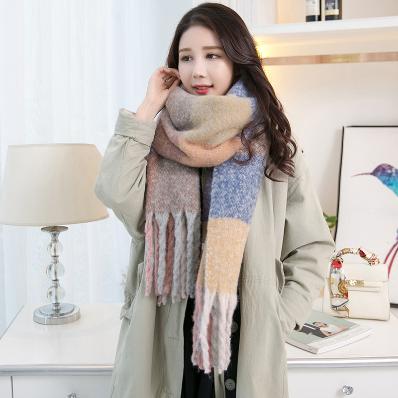 New cashmere scarves Korean style thickened scarf warm bezel autumn and winter patchwork fringe long shawl plus size 230cm*50cm