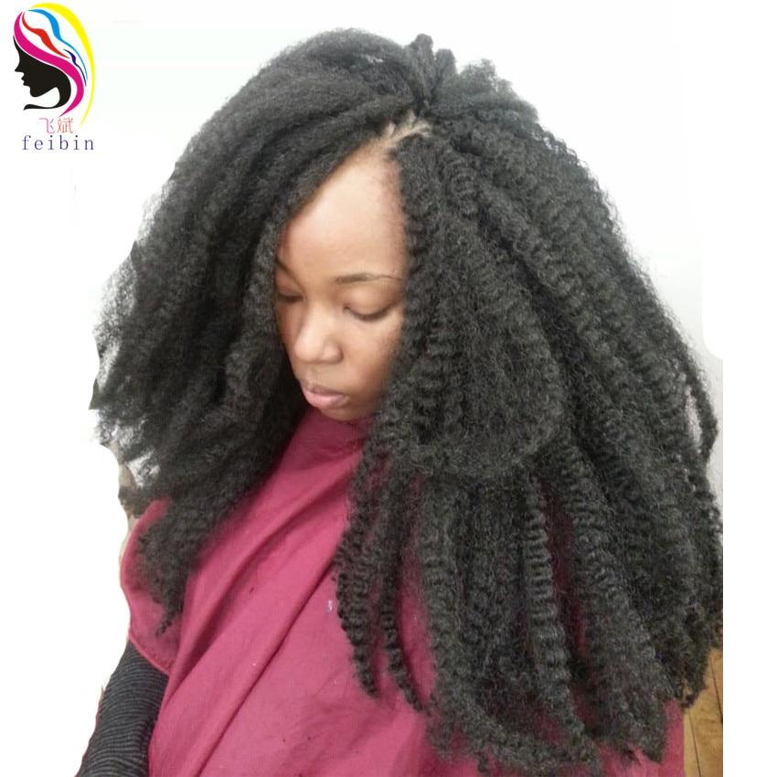 Feibin 6packs Kinky kudrnaté háčkování háčkované vlasy - Syntetické vlasy