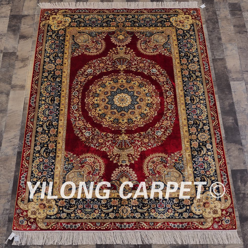 Yilong 4'x6' Handmade Persian Red Rugs Antique Turkish