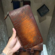 TERSE_Luxury engraving service high quality real genuine leather purse mens handmade patina long wallet large capacity men purse