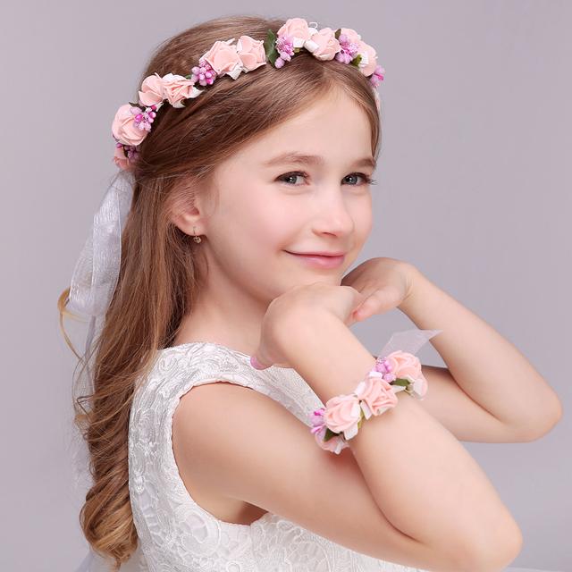 Acessório do cabelo da criança acessório do cabelo criança do sexo feminino formais acessórios vestido de noiva flor menina garishness anel da mão da criança