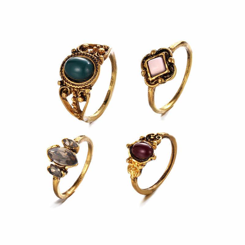 SHUANGR แฟชั่น 4 ชิ้น/เซ็ตสีทองโบราณ Punk แหวนชุดโบฮีเมียพื้นบ้านที่กำหนดเองชายหาดตุรกี Knuckle แหวนผู้หญิงเครื่องประดับ
