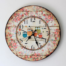2016 Solid Wood Do Old Silent Wall Clock Five Owl Coloured Drawing or Pattern The Sitting Room Is Decorated Direct Selling 0002