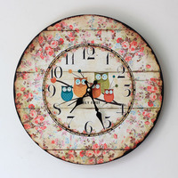 Large Round Wall Clock Wood Do Old Silent Wall Clock Five Owl Coloured Drawing or Pattern The Sitting Room