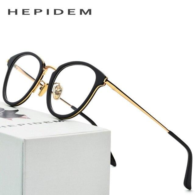 Acetate Glasses Frame Men 2018 Metal Round Prescription Eyeglasses Optical Frame Spectacle Women Vintage Stainless Steel Eyewear