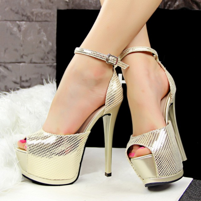 dae7fd1729833 Black Taupe Buckle Gold Peep Toe Ankle Strap Heel LADIES STRAPPY SANDALS  STILETTO PLATFORMS PEEP TOES HIGH HEELS SHOES