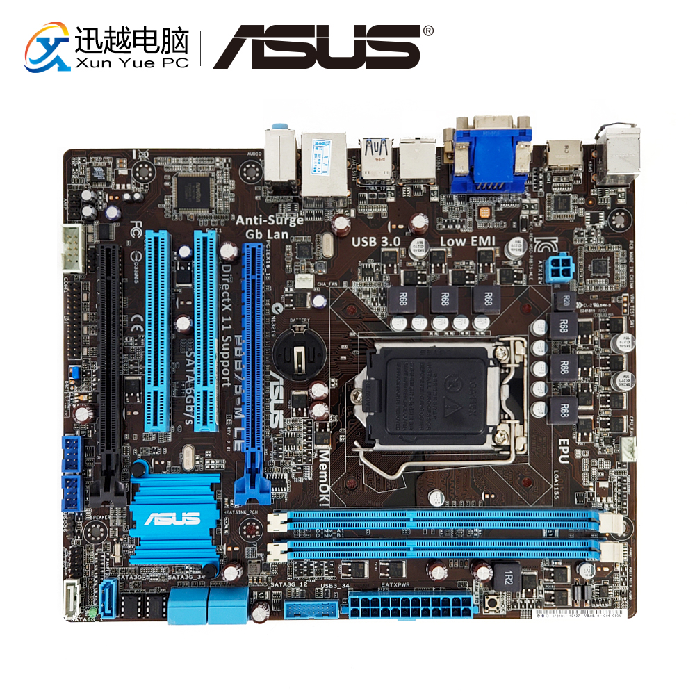 Asus P8B75-M LE Desktop Motherboard B75 Socket LGA 1155 For I3 I5 I7 DDR3 16G SATA3 USB3.0 HDMI DVI UATX Original Used Mainboard