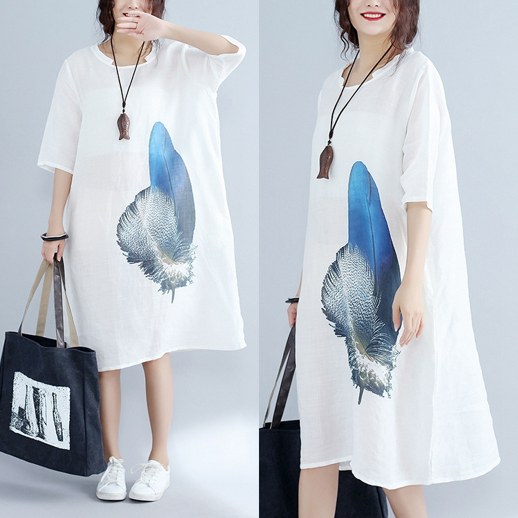 huaxiyuzi Store 2017 summer dress loose waisted women blue feather print cool thin linen loose white dress casual midguts dresses robe femme XXL