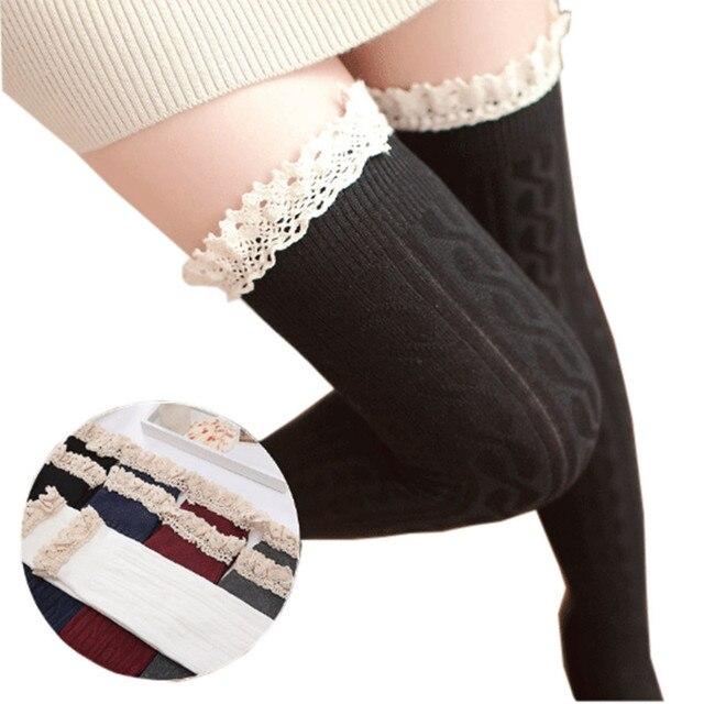 Moda Calcetines Atractivos de Las Mujeres Medias Sobre La Rodilla Calcetines de Alta Del Muslo Medias Hasta La Rodilla Medias 5 Colores de Otoño 2016