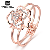 VALEN BELA New Flower Crystal Cuff Bangles Bague Bracelet Rose Gold Plated Indian Jewelry Woman Bracciali