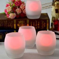 Oval Tea Light Flameless LED Candle Frosted Glass Christmas Decoration LED Tealight Candle with Glass Holder