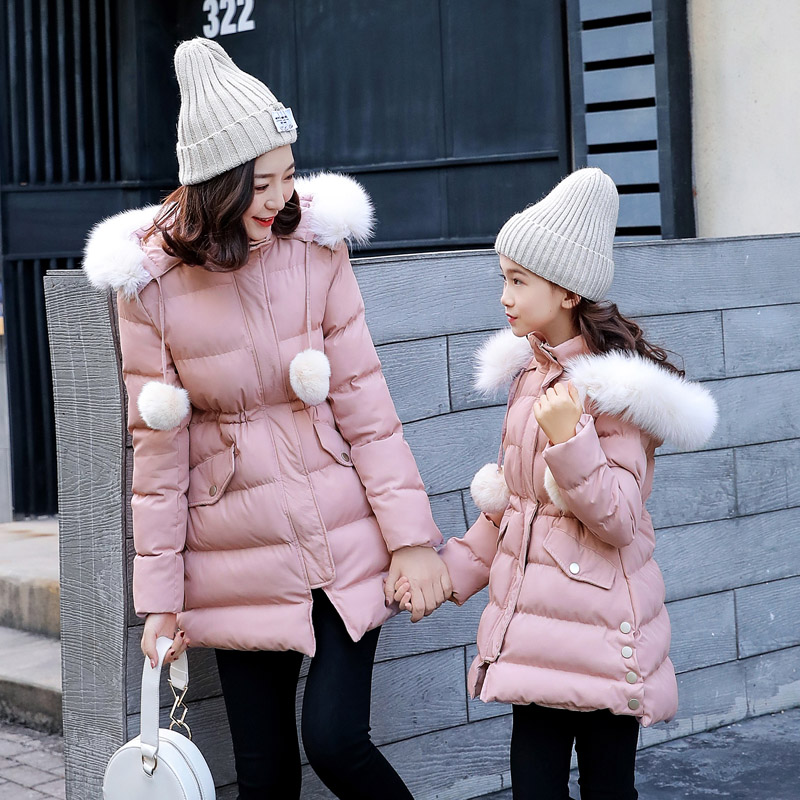 Christmas Family matching mother and daughter Outerwear&Coats mae e filha Female clothes warm Fur hooded with Hairball jackets 2015 ma e filha page 1