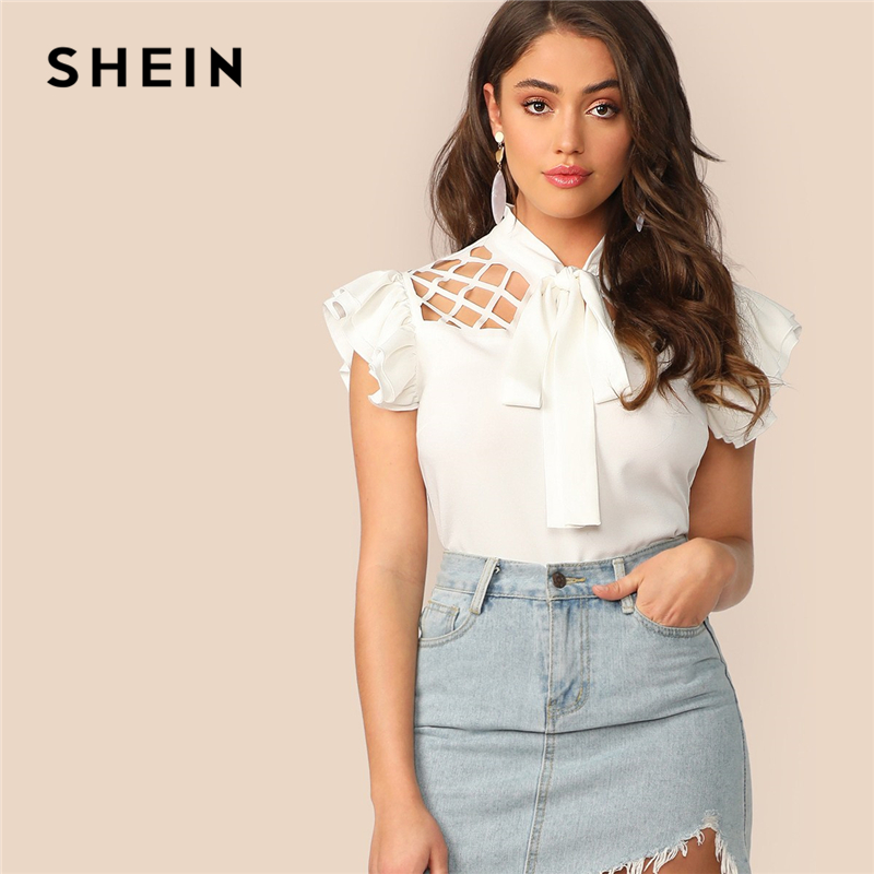 SHEIN Elegant White Tie Neck Cutout Yoke Layered Ruffle Armhole Top Cap Sleeve Blouse Women Summer Office Lady Workwear Blouses