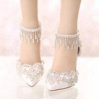 Yeni yaz beyaz kristal düğün ayakkabı sivri yüksek topuklu ayakkabı ile bir süper ince gelin Rhinestones ile toka sandalet