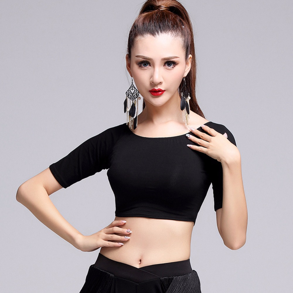 2017 New For Women Adult Latin Dance Top 1pcs Black Modal Half Sleeve Tango Dance Shirt