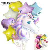 7pcs Anagram Rainbow Unicorn Helium Foil Balloons 18 Inch Star And Heart Balls Theme Baby Birthday
