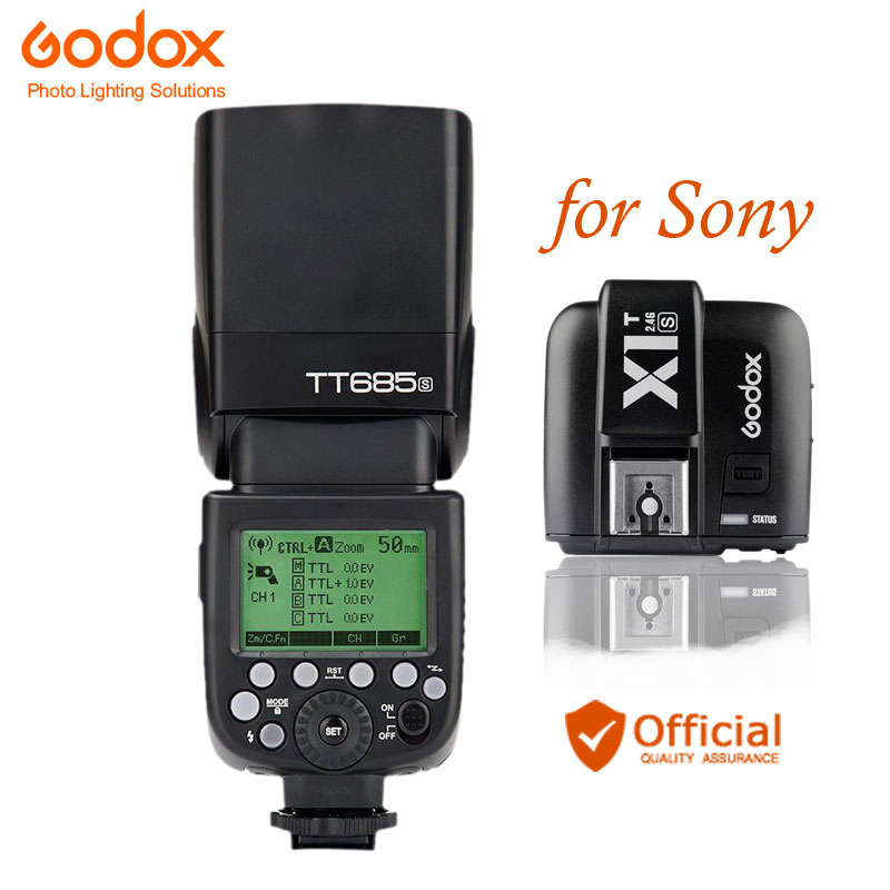 Godox TT685S 2.4G Wireless HSS TTL GN60 Flash Speedlite+ X1S Trigger Transmitter Kit for Sony A58 A7RII A7II A99 A9 A7R A6300