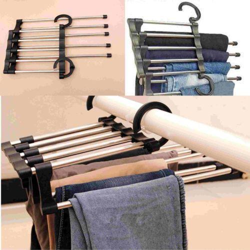 1Pcs Multi Trousers Hooks Stainless Steel Tube Pants Rack Closet Trouser  Extends Organize Clothes Hangers
