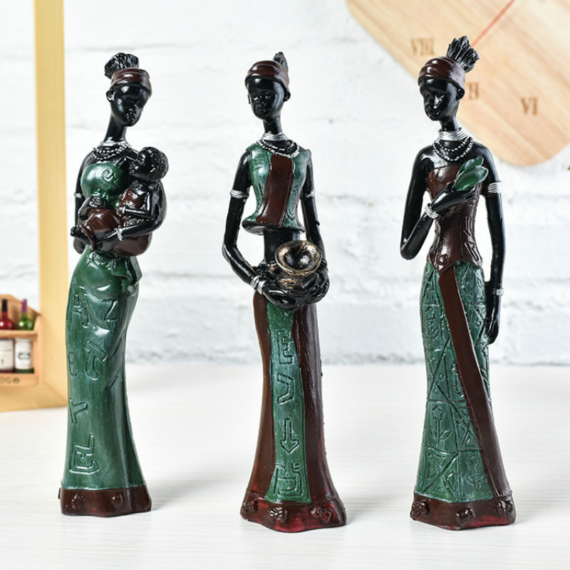 3Pcs/Set Home Decoration Accessories Resin Craft Africa Women Statue Room Ornaments Africa Women Figure Sculpture African Decor3Pcs/Set Home Decoration Accessories Resin Craft Africa Women Statue Room Ornaments Africa Women Figure Sculpture African Decor