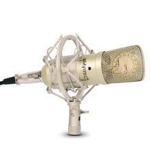 I ONE 콘덴서 마이크!! 34mm 골드 다이어프램 캡슐!! 녹음을위한 금속 스탠드가있는 전문 커패시터 마이크