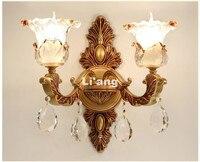 Современные европейские сплав золота LED Кристалл Бра Лампа внутреннего Настенные светильники с 1 огней 2 лампы для Спальня Освещение 100% подл
