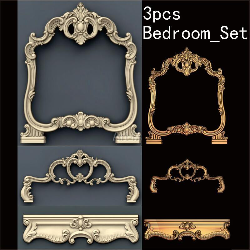 3pcs Bedroom_Set 3d Model STL Relief For Cnc STL Format Bedroom 3d Model For Cnc Stl Relief Artcam Vectric Aspire