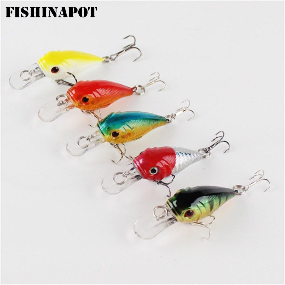 FISHINAPOT 1PCS Minnow Fishing Lure 5CM 5G Crank Hard Bait Artificial Wobblers Carp Bass Crankbait Fly Fishing Accessories