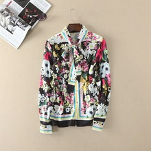 Italy style floral print blouse 2017 spring bowknot flower print shirts