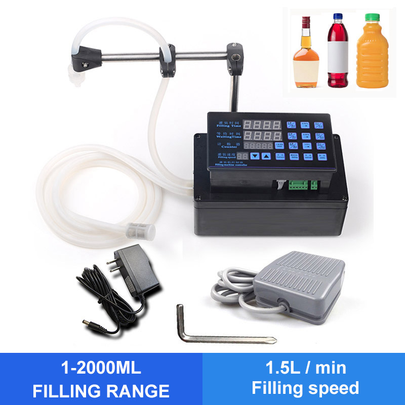 High Quality 24W 1-2000 Ml Liquid Beverage Liquid Filling Machine Digital Control Panel Oil Perfume Milk Vial Filling Machine