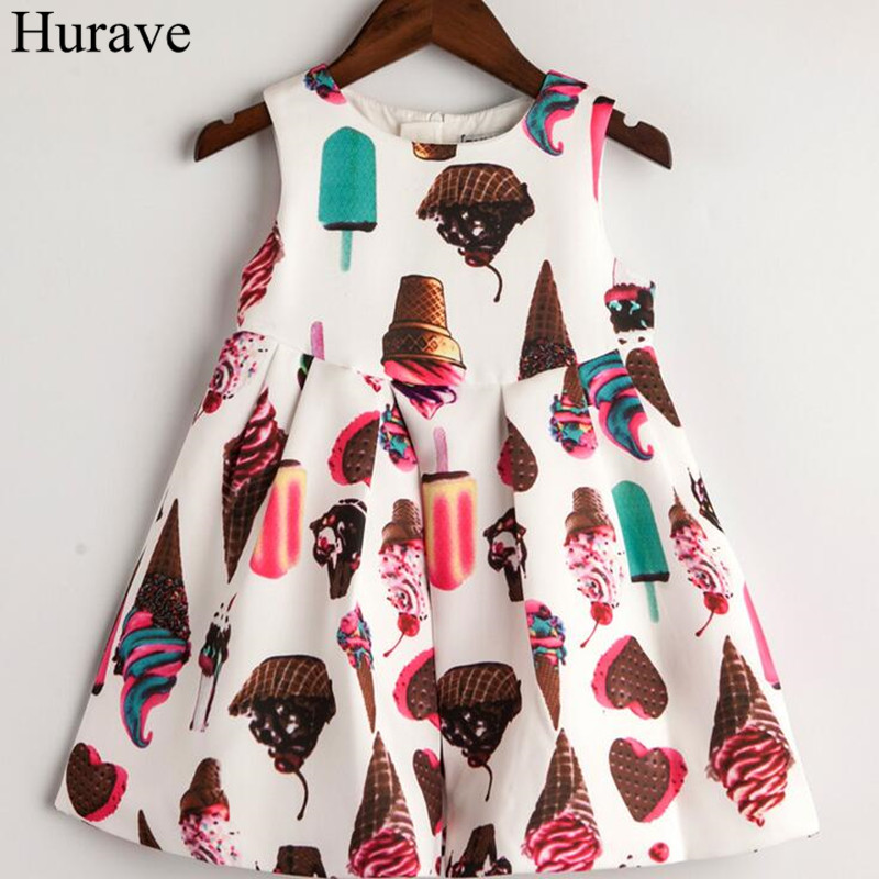 Hurave Baby Girls Ice Cream Printing Princess Dress Clothes Children Sleeveless Dress Kids Round Collar Dresses For 2-6 Years