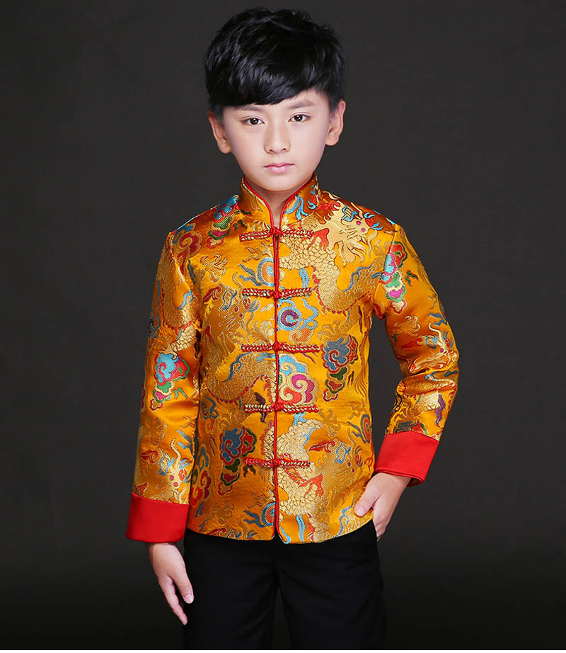 5013888905b Kid China dress of the Tang Dynasty Chinese traditional garments jacket  costume pants for children boy girl clothing