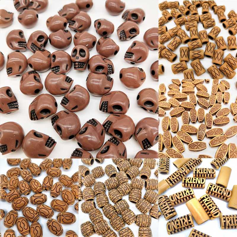 Imitation wood Bead Acrylic DIY Skull Handmade Beads Simple Jewelry Accessories For Bracelet Necklace Fashion Cheap Leisure Gift