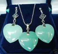 wholesale beautiful silver plated heart shape green Natural Stone earring and pendant jewelry set