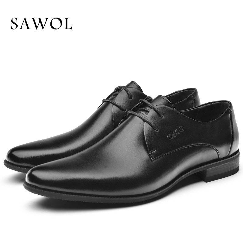 Genuine Leather Men Shoes Men Dress Shoes Brand Men Formal Men Classic Casual Flats Business Gentleman Spring Autumn Solid Sawol fashion men shoes genuine leather men casual shoes brand luxury men s business classic gentleman shoes handmade high quality