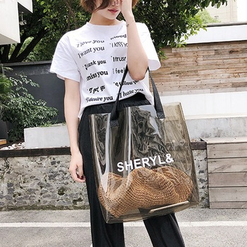 ABDB-Transparent Women'S Handbag Fashion Bag Transparent Plastic Jelly Bag Beach Bag Summer Shoulder Shoulder Bag 1