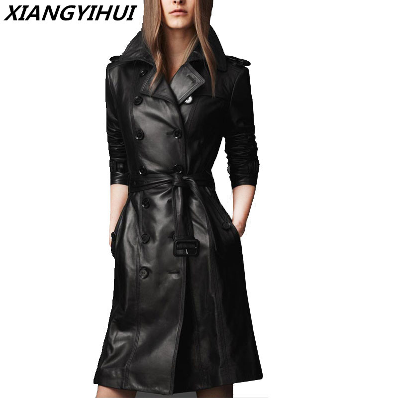 2018 top Compound sheepskin coat lady Free wash PU   leather   jacket lace-up plus size trench coat Long with cotton overcoat