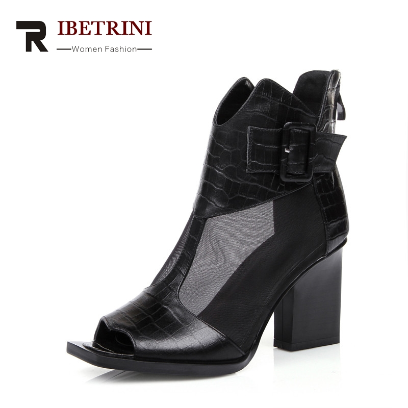 RIBETRINI Brand Design Genuine Leather Square High Heels Solid Zip Top Quality Shoes Woman Casual Spring Boots Big Size 31-44