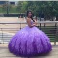 Consideravelmente roxo Quinceanera vestidos gradiente Tulle vestidos de baile com Puffy Ruffles Sweetheart frisada doce 15 Dresses princesa