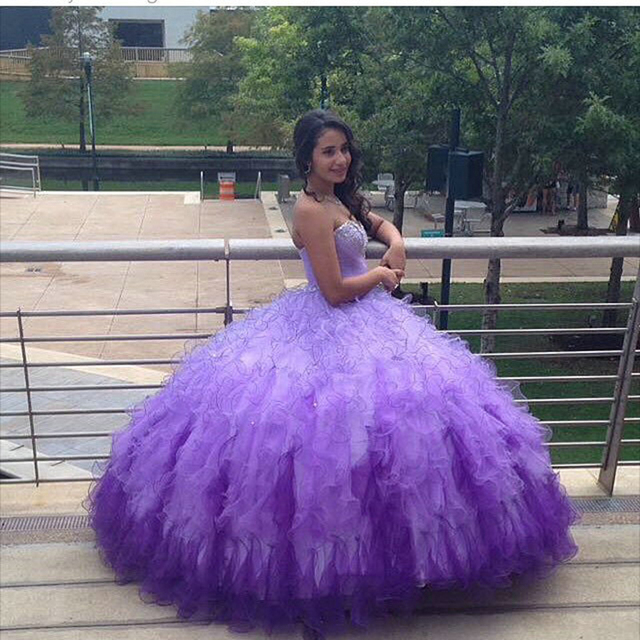 92e07f84d16 Pretty Purple Quinceanera Dresses Gradient Tulle Ball Gowns with Puffy  Ruffles Sweetheart Beaded Sweet 15 Dresses