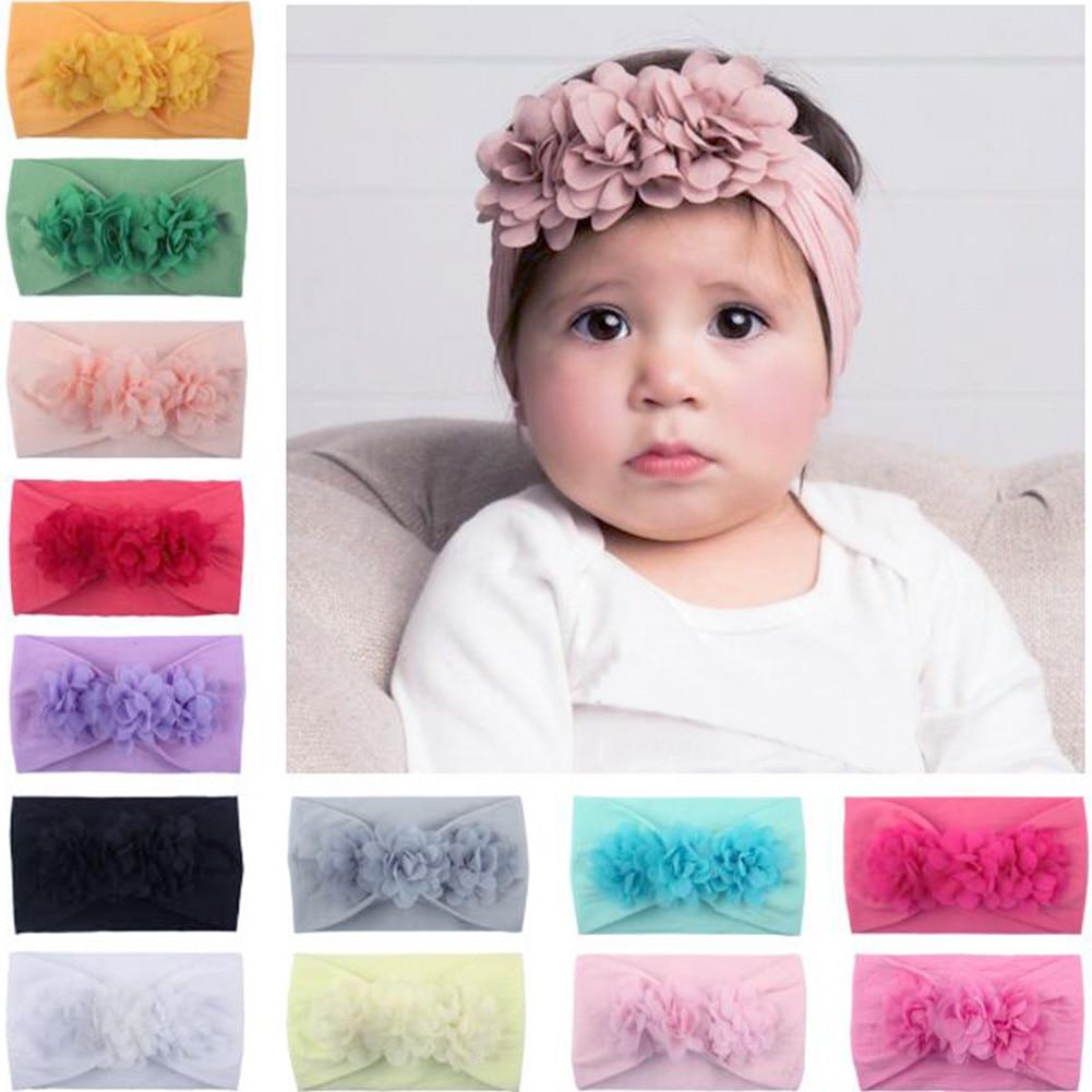 Baby Girl Headbands 3D Flower Kids Toddler Bow Hairband Headband Big Floral Elastic Hair Bands Head Wrap Baby Hair Accessories защитный детский шлем