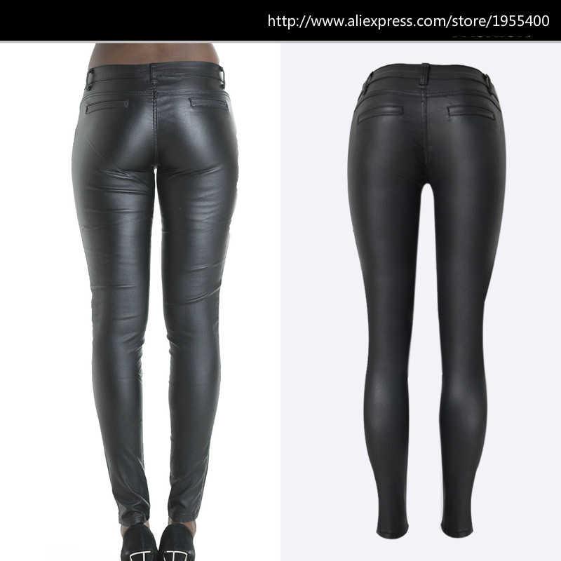 f6b33f69f3fe Low Waist Imitation Leather PU Skinny Pencil Pants Women Black Zipper Side  Stripe Embroidered Pantalon Push Up Pantalon Femme