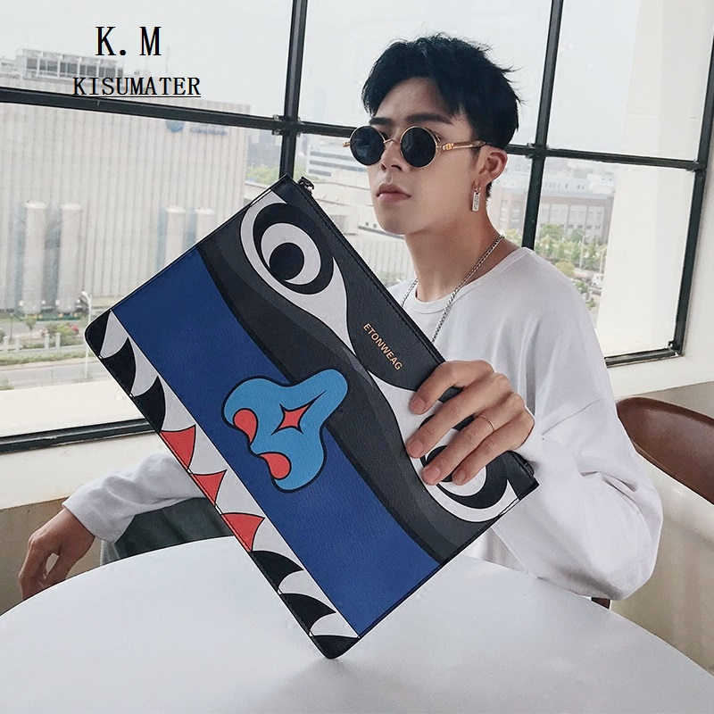 3D Printing Bags Eye Designer Luxury Brand High Quality Leather Envelope Clutch Cartoons Handbags Men's Shoulder Bag