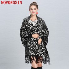 SC260 2018 Women Tassel Cardigan Open Stitch Thick Coat Long Sleeves Vintage Leopard Outwear Winter Imitation Velvet Poncho