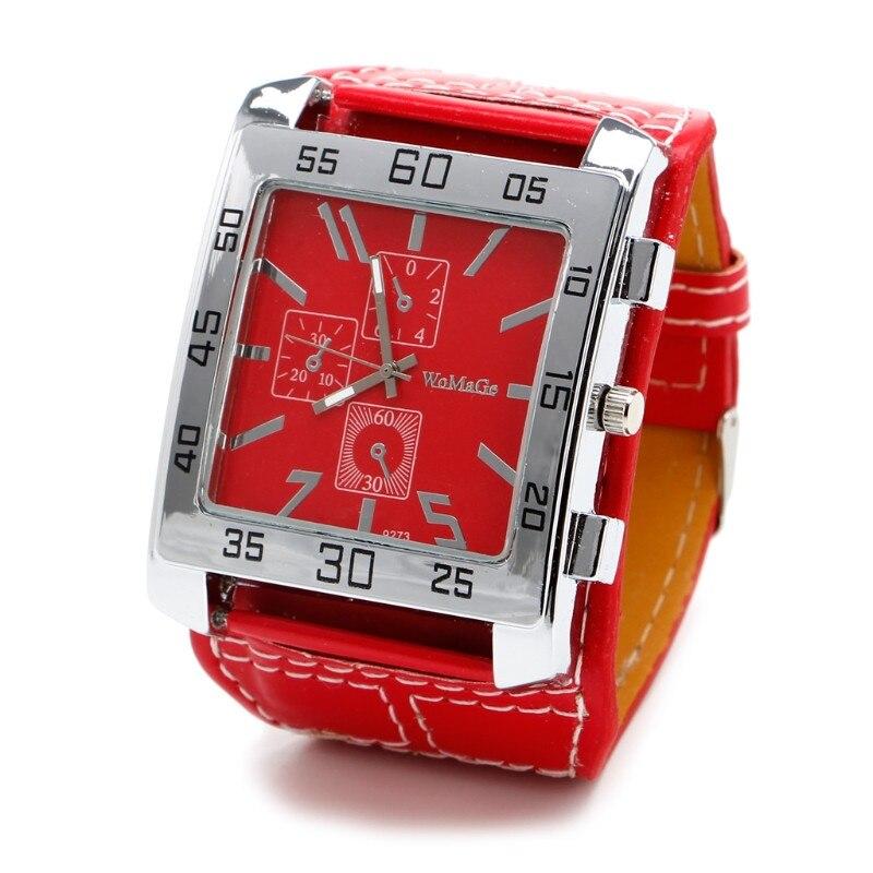 Кварцевые часы модные шикарные с кожаным ремешком Мужские Женские наручные часы квадратный циферблат - Цвет: R