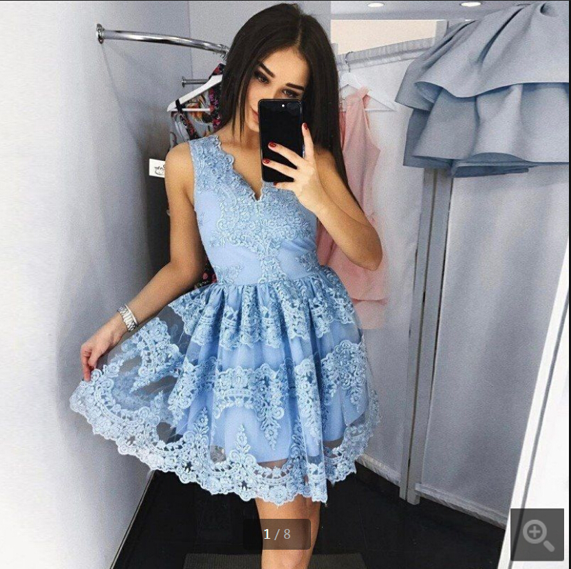2019 new arrival short a line lace appliques   prom     dress   petite girls informal sleeveless v neckline cheap   prom   gowns best sale