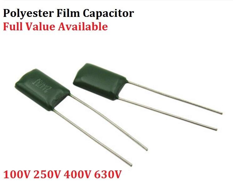 50pcs 0.0022uF 2.2nF 100V 5/% Mylar Film Capacitors 2A222