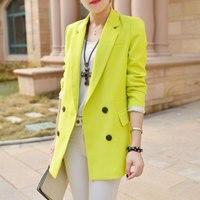 Yeni Varış Bahar kadın moda Kısa Çift Breasted casual Blazers Uzun Kollu Suit Pembe Mavi Beyaz Blazer A0203